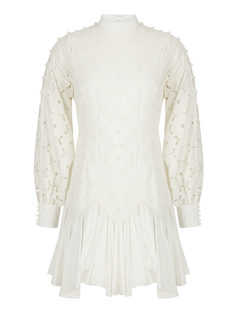 BUTTON DETAILED BRODERIE DRESS